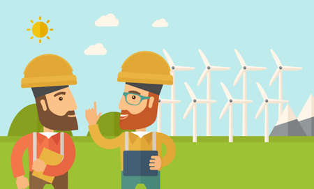 wind mills: A two workers wearing hard hat talking infront of windmills under the sun. A Contemporary style with pastel palette, soft blue tinted background with desaturated clouds. flat design illustration. Horizontal layout.