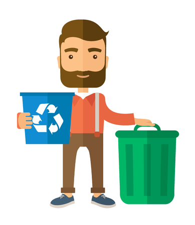 A Caucasian standing outside the house sorting a trash and will throw to the barbage bin. Eco-friendly. A Contemporary style. flat design illustration isolated white background. Vertical layout.