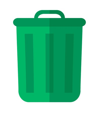 A plastic green garbage bin, container for waste or junk materials. A Contemporary style. flat design illustration isolated white background. Vertical layout. Stock Photo