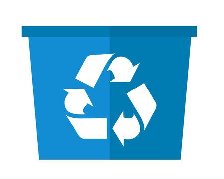 A blue garbage can with recycle symbol. A Contemporary style. flat design illustration isolated white background. Square layout. Stock Illustration - 63285197