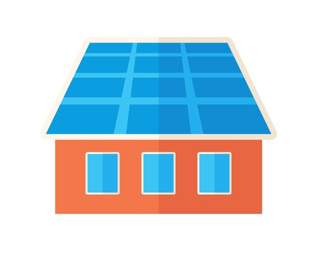 schemes: A house with solar panels on the roof. . A Contemporary style. flat design illustration isolated white background. Square layout