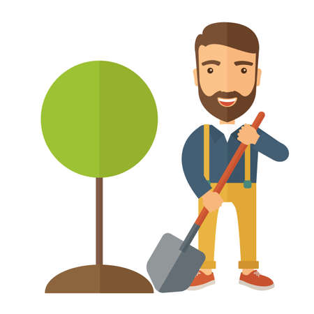 sembrando un arbol: A happy gardener planting a tree in his yard using shovel. A Contemporary style. flat design illustration isolated white background. Square layout.