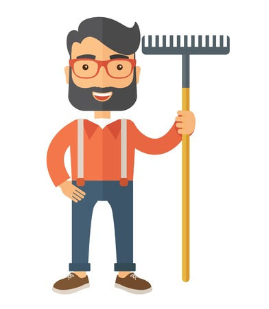 A caucasian man standing holding a rake ready for gardening. A Contemporary style. flat design illustration isolated white background. Vertical layout. Stock Photo