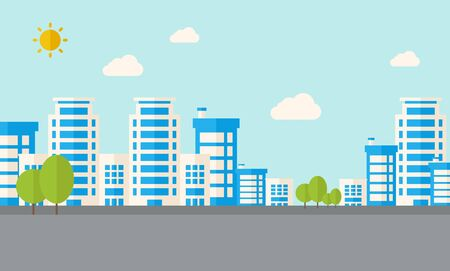 urban planning: A buildings with trees under the sun. A Contemporary style with pastel palette, soft blue tinted background with desaturated clouds. flat design illustration. Horizontal layout.