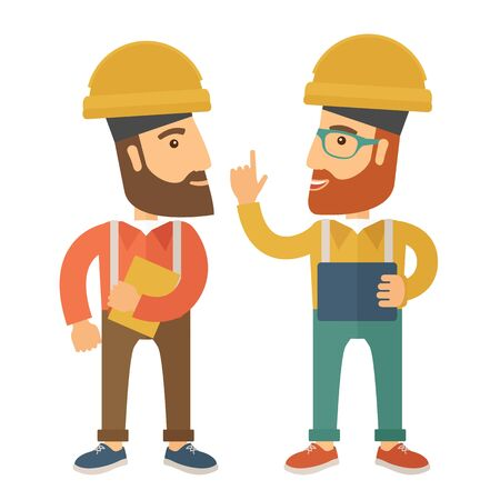 steel mill: A two workers wearing hard hat talking .A Contemporary style. flat design illustration isolated white background. Square layout Stock Photo