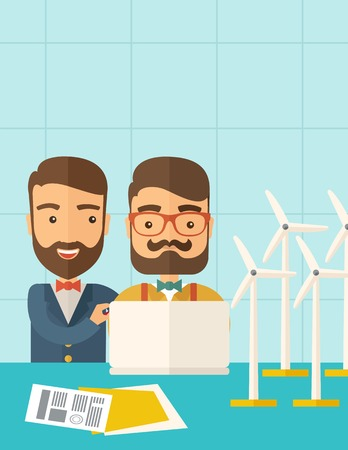 A two caucasian workers using laptop with windmills as power generator.  A Contemporary style with pastel palette, soft blue tinted background. flat design illustration. Vertical layout with text space on top part.