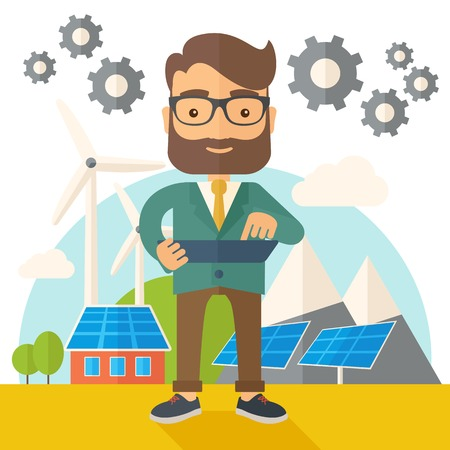 adult male: A mid adult male engineer holding a blueprint in a solar panel. A Contemporary style with pastel palette, soft beige tinted background. flat design illustration. Square layout.