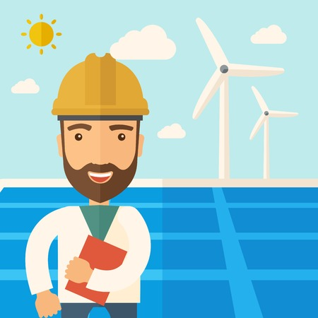 warmness: A man wearing hardhat smiling under the heat of the sun with solar panels and windmills. A Contemporary style with pastel palette, soft blue tinted background with desaturated clouds. flat design illustration. Square layout.