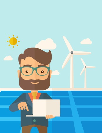 A man with laptop using the solar panel under the sun as power electricity. A Contemporary style with pastel palette, soft blue tinted background with desaturated clouds. flat design illustration. Vertical layout with text space on top part. Stock Photo