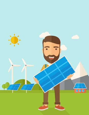 A happy young man standing while holding a solar panel under the heat of the sun. A Contemporary style with pastel palette, soft blue tinted background with desaturated clouds. flat design illustration. Vertical layout with text space on top part.
