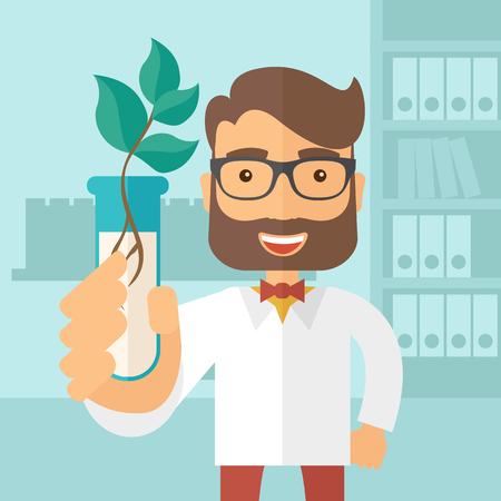 A chemist holding a test tube with eco leaves. A Contemporary style with pastel palette, soft blue tinted background. flat design illustration. Square layout.