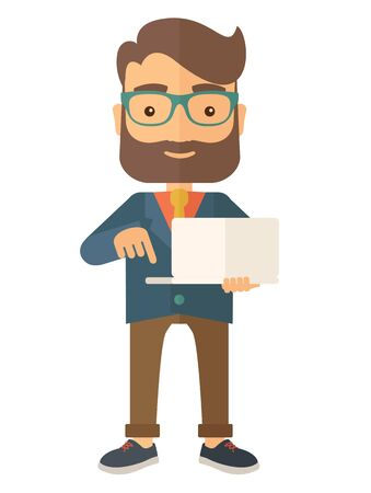 A successful man holding a laptop. A man with laptop. A Contemporary style. flat design illustration isolated white background. Vertical layout