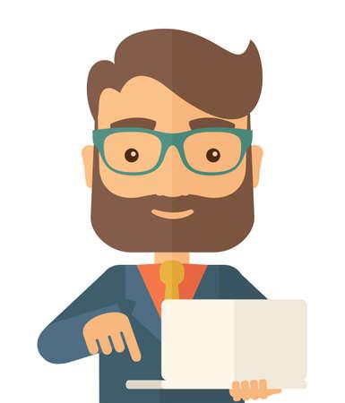 노트북을 들고 성공적인 남자입니다. 노트북 남자입니다. 현대적인 스타일. 평면 디자인 일러스트 격리 된 흰색 배경입니다. 사각형 레이아웃. 스톡 콘텐츠
