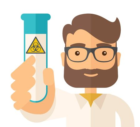 A young Scientists experimenting with glass tube. A Contemporary style. flat design illustration isolated white background. Square layout.