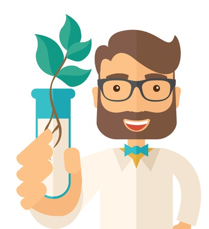 triangulum: A chemist holding a test tube with eco leaves. A Contemporary style. flat design illustration isolated white background. Square layout.