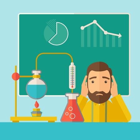 A science teacher with scared facial expression works on mixing chemicals for an experiment in the laboratory. A Contemporary style with pastel palette, soft green tinted background.  flat design illustration. Square layout.