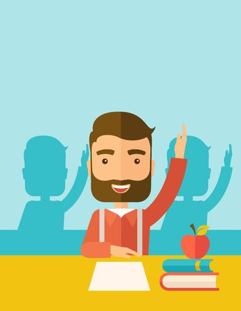 mates: A young student raising his hand with a smile. A Contemporary style with pastel palette, soft green tinted background.  flat design illustration. Vertical layout with text space on top part.