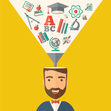 A man with icons and student ideas. A Contemporary style with pastel palette, dark yellow tinted background.  flat design illustration. Square layout.