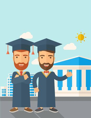 succeeding: A happy two young men wearing a toga and graduation cap standing under the sun. A Contemporary style with pastel palette, soft blue tinted background with desaturated clouds.  flat design illustration. Vertical layout with text space on top part. Stock Photo