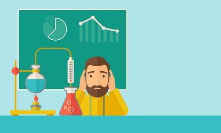 A science teacher with scared facial expression works on mixing chemicals for an experiment in the laboratory. A Contemporary style with pastel palette, soft green tinted background.  flat design illustration. Horizontal layout with text space in right si