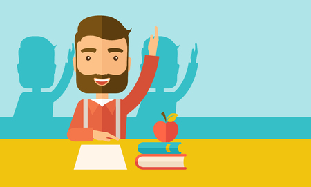 mates: A young student raising his hand with a smile. A Contemporary style with pastel palette, soft green tinted background.  flat design illustration. Horizontal layout with text space in right side.