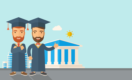 succeeding: A happy two young men wearing a toga and graduation cap standing under the sun. A Contemporary style with pastel palette, soft blue tinted background with desaturated clouds.  flat design illustration. Horizontal layout with text space in right side.