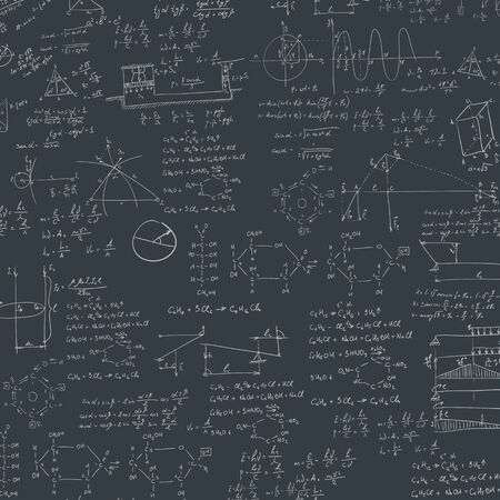 derivation: A blackboard with mechanical formula. A Contemporary style.  flat design illustration isolated black background. Square layout