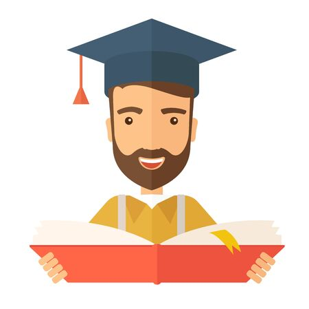 representing: Man sstanding and reading  a book, wearing graduation cap, representing to be graduated in studying or finished school or university. A Contemporary style.  flat design illustration isolated white background. Square layout.