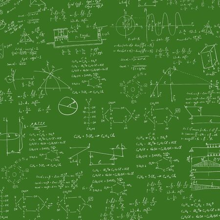 A blackboard with mechanical formula. A Contemporary style.  flat design illustration isolated green background. Square layout Stock Photo