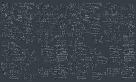 A blackboard with mechanical formula. A Contemporary style.  flat design illustration isolated black background. Horizontal layout Stock Photo