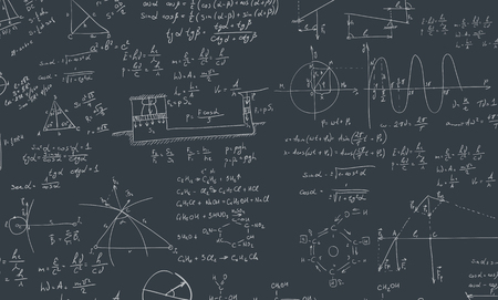 mathematical proof: A blackboard with algebra formula. A Contemporary style.  flat design illustration isolated black background. Square layout