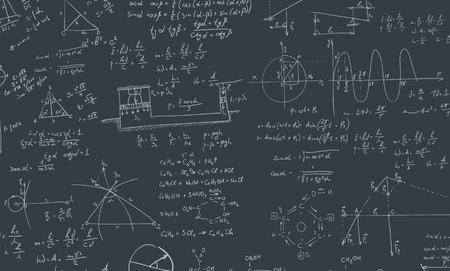 Een schoolbord met algebra-formule. Een eigentijdse stijl. platte ontwerp illustratie geïsoleerde zwarte achtergrond. Vierkante lay-out