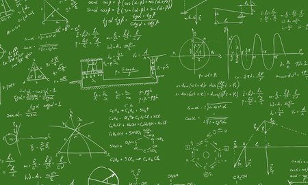 mathematical proof: A blackboard with algebra formula. A Contemporary style.  flat design illustration isolated green background. Square layout Stock Photo