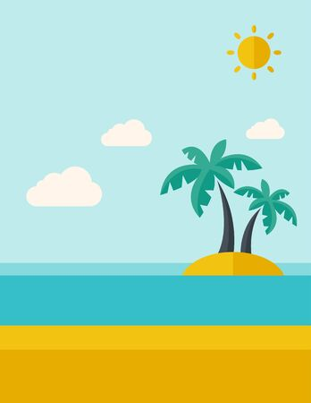 tinted: A tropical sea island with palm trees and sun. A Contemporary style with pastel palette, soft blue tinted background with desaturated clouds.  flat design illustration. Vertical layout.