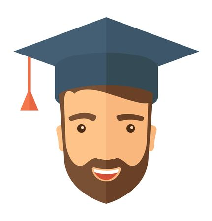 final college: A smiling male head with graduation cap. A Contemporary style.  flat design illustration isolated white background. Square layout Stock Photo