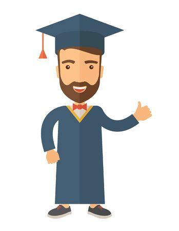 A young man wearing toga and graduation cap. A Contemporary style.  flat design illustration isolated white background. Vertical layout