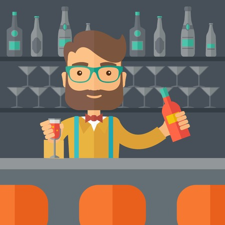 bartending: A young bartender preparing a mixed drinks at a bar, several bottles of alcohol and wine glass behind him. A contemporary style with pastel palette black tinted background.  flat design illustration. Square layout. Stock Photo