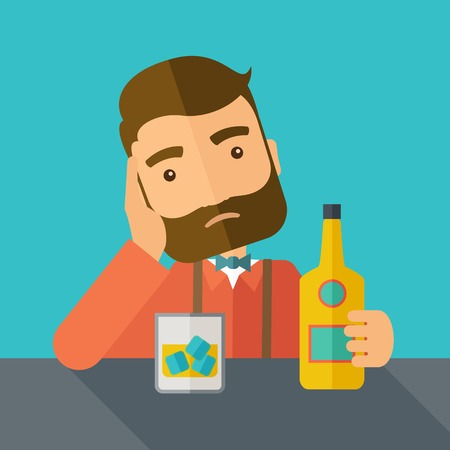 A caucasian sad man is having a problem drinking beer in the bar. Depressed concept. A contemporary style with pastel palette dark blue tinted background.  flat design illustration. Square layout.