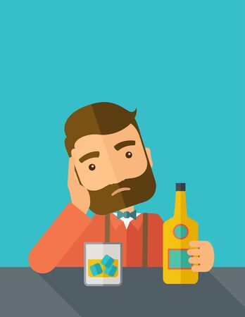 A caucasian sad man is having a problem drinking beer in the bar. Depressed concept. A contemporary style with pastel palette dark blue tinted background.  flat design illustration. Vertical layout with text space on top part. Stock Photo