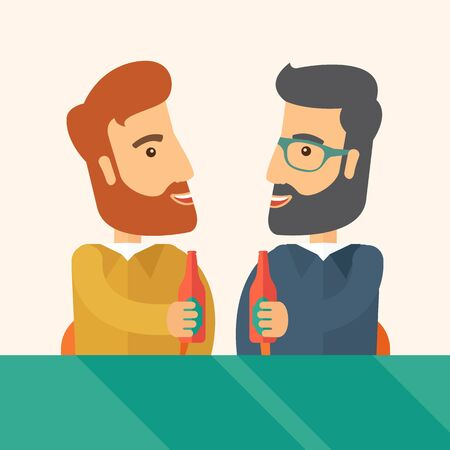 A two hipster co-workers from office to pub having fun drinking beer just to relax and stress free. A Contemporary style with pastel palette, soft beige tinted background.  flat design illustration. Square layout. Stock Photo