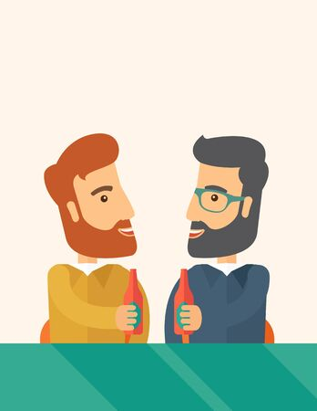 socialization: A two hipster co-workers from office to pub having fun drinking beer just to relax and stress free. A Contemporary style with pastel palette, soft beige tinted background.  flat design illustration. Vertical layout with text sapce on top part.