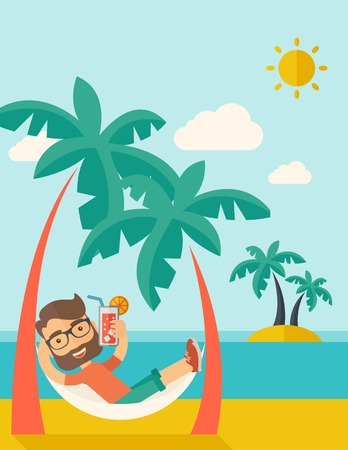 A young caucasian on the beach relaxing and drinking cocktail under the heat of the sun with two coconut tree. A contemporary style with pastel palette blue tinted background with desaturated clouds.  flat design illustration. Vertical layout. Reklamní fotografie
