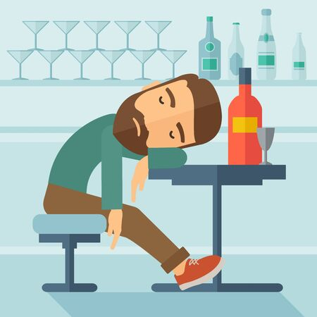 A drunk man sitting fall asleep on the table with a bottle of beer inside the pub. Over drink concept. A contemporary style with pastel palette soft blue tinted background.  flat design illustration. Square layout Stock Photo