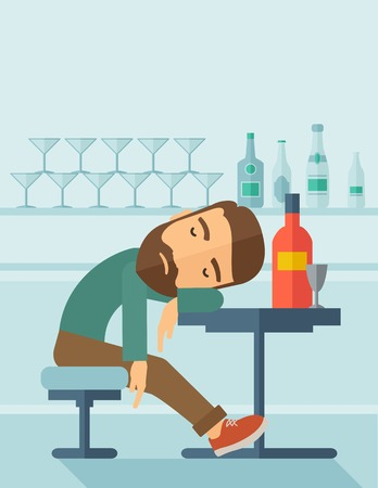 hangover: A drunk man sitting fall asleep on the table with a bottle of beer inside the pub. Over drink concept. A contemporary style with pastel palette soft blue tinted background.  flat design illustration. Vertical layout with text space on top part.