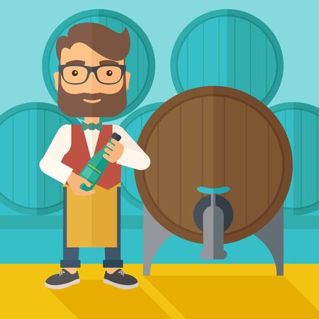 storage room: A wine maker standing wearing his apron holding a bottle of wine inspecting from barrel inside the wine storage room. A contemporary style with pastel palette dark blue tinted background.  flat design illustration. Square layout.