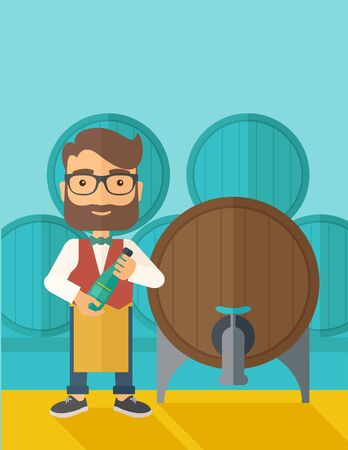 inspecting: A wine maker standing wearing his apron holding a bottle of wine inspecting from barrel inside the wine storage room. A contemporary style with pastel palette dark blue tinted background.  flat design illustration. Vertical layout with text space on top p