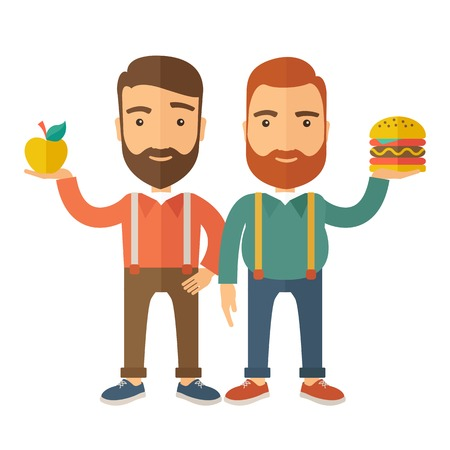 A two businessmen standing and comparing Apple to hamburger of which is healthy food. A Contemporary style with pastel palette, soft beige tinted background.  flat design illustration. Square layout. Stock Photo