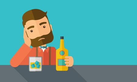 A caucasian sad man is having a problem drinking beer in the bar. Depressed concept. A contemporary style with pastel palette dark blue tinted background.  flat design illustration. Horizontal layout with text space in right side.