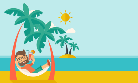 A young caucasian on the beach relaxing and drinking cocktail under the heat of the sun with two coconut tree. A contemporary style with pastel palette blue tinted background with desaturated clouds.  flat design illustration. Horizontal layout with text