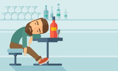 A drunk man sitting fall asleep on the table with a bottle of beer inside the pub. Over drink concept. A contemporary style with pastel palette soft blue tinted background.  flat design illustration. Horizontal layout with text space in right side.